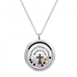 "1x Stainless Steel ""With God All Things Are Possible"" Matthew Expect Miracles Star Rainbow Round Floating Locket Crystals Charm Chain Necklace Pendant 30mm"
