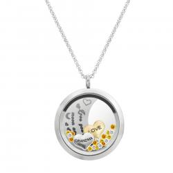 "1x Stainless Steel ""I Love You to the Moon and Back"" Grandma Family Round Floating Locket Crystal Charm Round Chain Necklace Pendant 30mm"