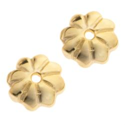 4x 14k Gold Plated Over Sterling Silver Flower Caps Bead 5mm