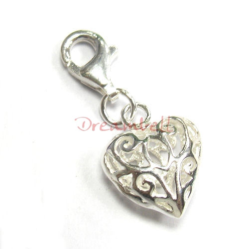 Sterling silver Heart Dangle Charm Filigree Pendant for European Style  Clip on Charm