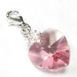STERLING SILVER Swarovski Crystal Pink Rose Heart Love Charm for European Style  Clip on Charm