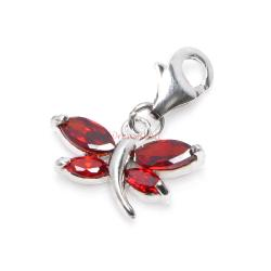 1x Sterling Silver Dragonfly Oval Red CZ Crystal Dangle Charm Pendant for European Lobster Clip on Charm Bracelets