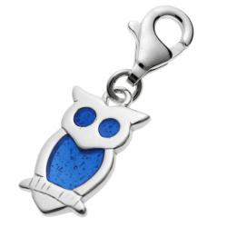 STERLING SILVER Owl Bird  Enamel Dangle CHARM Pendant for European Style  Clip on Charm