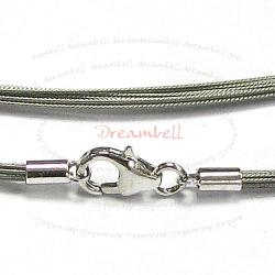 Sterling Silver SILVER Gray Tigertail Wire necklace Lobster Clasp 45cm