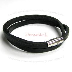 Stainless Steel 2 Rounds Black Flat Leather Cord 5mm Magnetic Wristband Bracelets 8""