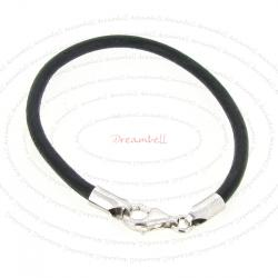 1x Sterling Silver Black leather cord 3mm BRACELET for European Bead Charm 8""