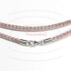 1x Sterling Silver Rose red Brass Mesh 3mm choker leather cord necklace 45cm