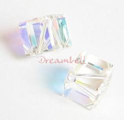 2x Swarovski Elements Crystal Diagonal Cube Clear AB 5600 8mm