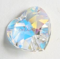 1x Swarovski Crystal Heart Charm pendant Clear AB 18mm 6202