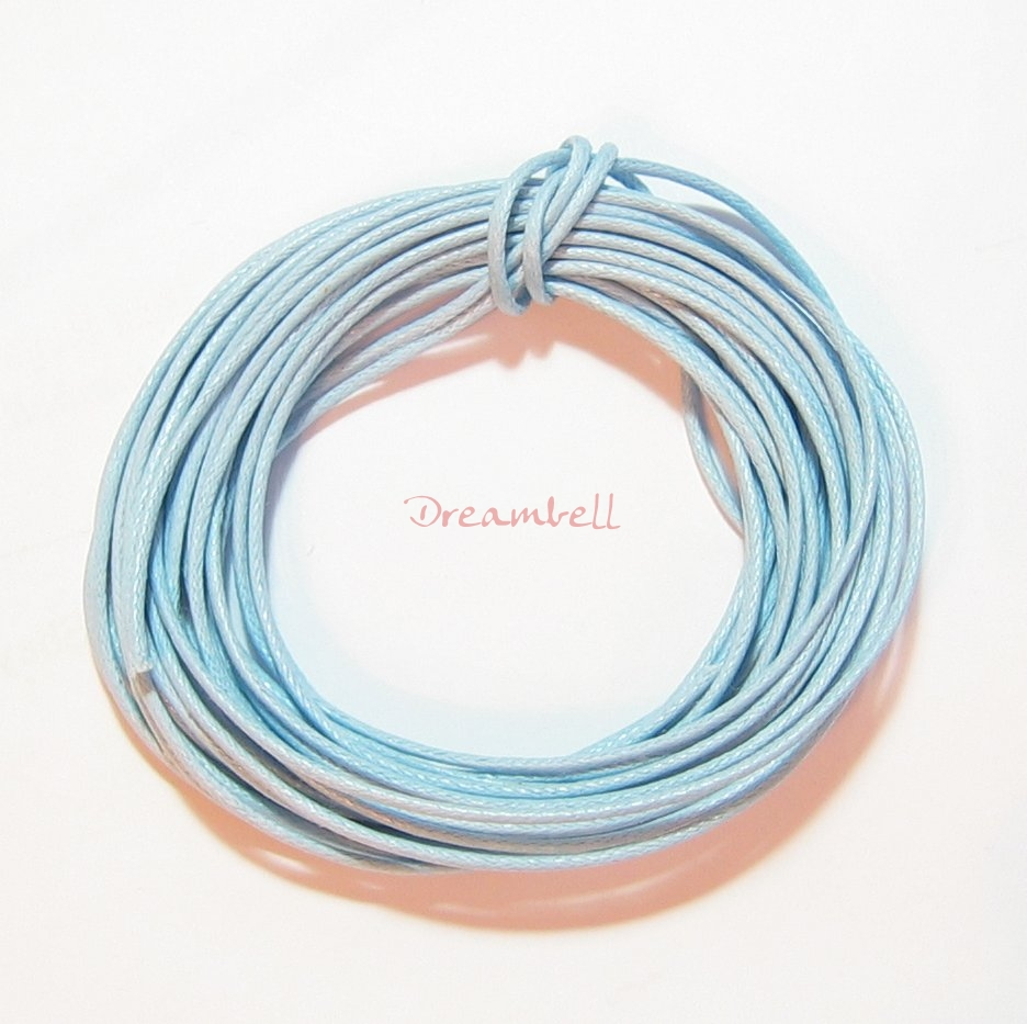 5 YARDS WAXED COTTON BEAD STRINGING CORD 2MM Light Blue