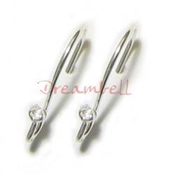10x Sterling Silver CZ Stone Crystal Ear wire French hook Earwires
