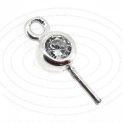 2x Sterling Silver Eye Pin with CZ Crystal Pearl Pendant Connector Bail