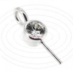 1x Sterling Silver Eye Pin with CZ Crystal Pearl Pendant Connector Bail
