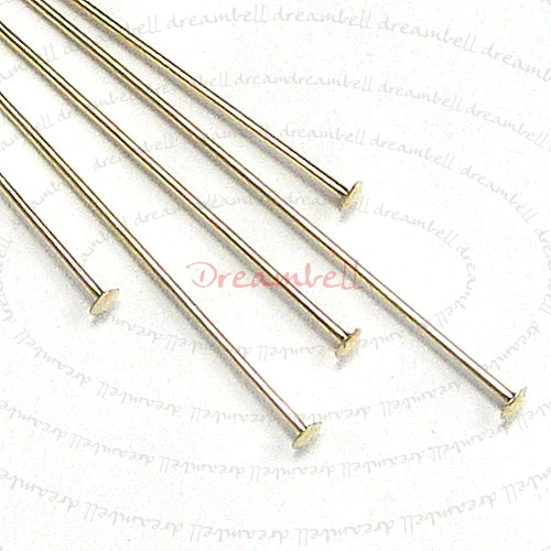 10x 14K Gold Filled 24 guage Headpins Head pins 24ga 2""