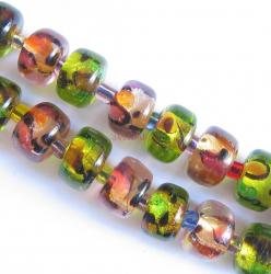 8x Romance Fused Lampwork Glass Golden Mediterranean color