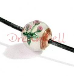 1x Garden Flower Lampwork Glass GOLD Bead Pearl White 10mm