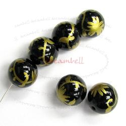 2x Black Beauty Lampwork glass floral Round Bead 12mm