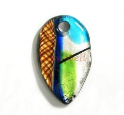 Huge Lampwork Fused Dichroic Silver GOLD Glass Pendant 47mm