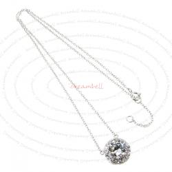 Rhodium Sterling Silver Round CZ Pendant Link Chain Necklace with Extender Spring Clasp 17''