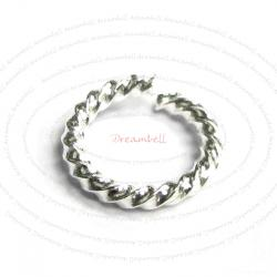 10x Sterling Silver Open Twisted Jump Rings Bead 8mm 17ga