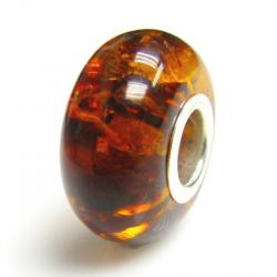 Sterling Silver Baltic Cognac Amber Round Bead for European Charm Bracelets