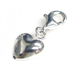 STERLING SILVER Sweet Heart Dangle Pendant for European Lobster Clip on Charm