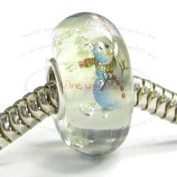 Sterling Silver Clear Snowman Glass Bead for European Charm Bracelets
