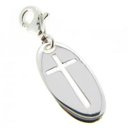 Sterling Silver Cross Dangle Pendant for European Lobster Clip on Charm