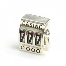Sterling Silver Casino Slot Machine Lucky 777 Bead for European Charm Bracelets