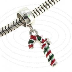 Sterling Silver Christmas Gift Candy Cane Stick Enamel Dangle Bead for European Charm Bracelets