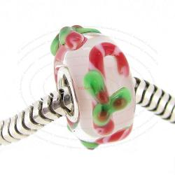 Sterling Silver Round Christmas Gift Stick Candy Cane Red Green Glass Bead for European Charm Bracelets