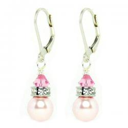 2x Stering Silver Light Pink Rose Crystal-pearl Leverback Earrings Using Swarovski Elements Crystal and Crystal Pearl