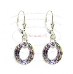 2x Sterling Silver Round Vitrial Light Purple Crystals Leverback Dangle Earrings Using Swarovski Elements Crystal