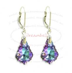 2x Sterling Silver Baroque Vitrial Light Purple Crystals Leverback Dangle Earrings Using Swarovski Elements