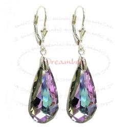 2x Stering Silver Teardrop Vitrail Light Purple Crystals Leverback Dangle Earrings Using Swarovski Elements Crystal