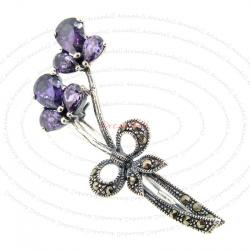 Sterling Silver Flower Ribbon Purple / Amethyst Marcasite Brooch with Safety Pin 50mm