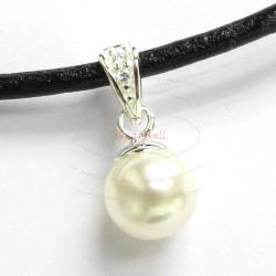 1x Sterling Silver CZ Bail Pin Cup Pearl Pendant Connector