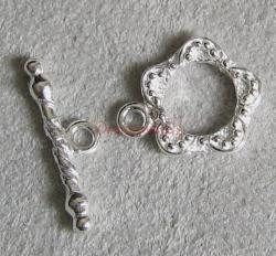 1x Sterling Silver Flower Toggle clasp 12mm 925