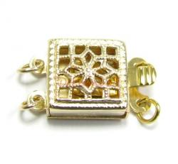 1X 14k Gold Filled CLASSIC FILIGREE 2-strand SQUARE PEARL BOX CLASP 8.5mm