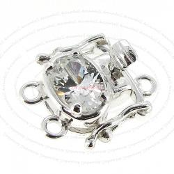1x Sterling Silver Pearl Box CZ Crystal Clasp 15mm
