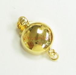 1x 14k Gold on Sterling Silver Round Pearl Box Pearl Clasp 1 Strand