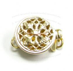 1x 14k Gold Filled CLASSIC Round FILIGREE PEARL BOX CLASP 9MM