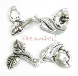 STERLING SILVER ROSE FLOWER LEAF Toggle NECKLACE CONNECTOR Clasp