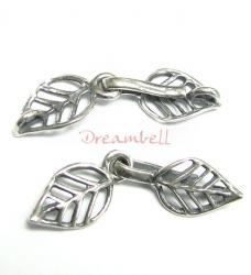 1x STERLING SILVER LEAF HOOK EYE Toggle Bead Clasp 32mm
