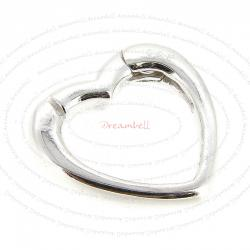 1x Sterling Silver Pearl Enhancer Shortener Heart Clasp Necklace Connector