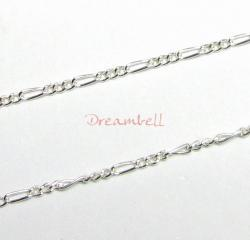 "12"" Sterling silver bead Oval link Chain FIGARO 3+1"