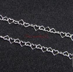 "12"" Sterling silver bead 3.6mm Heart link Chain 038"