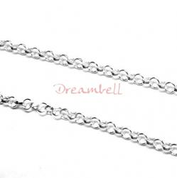 "12"" Sterling silver bead 2mm FLAT DC ROUND RING Link CABLE Chain"