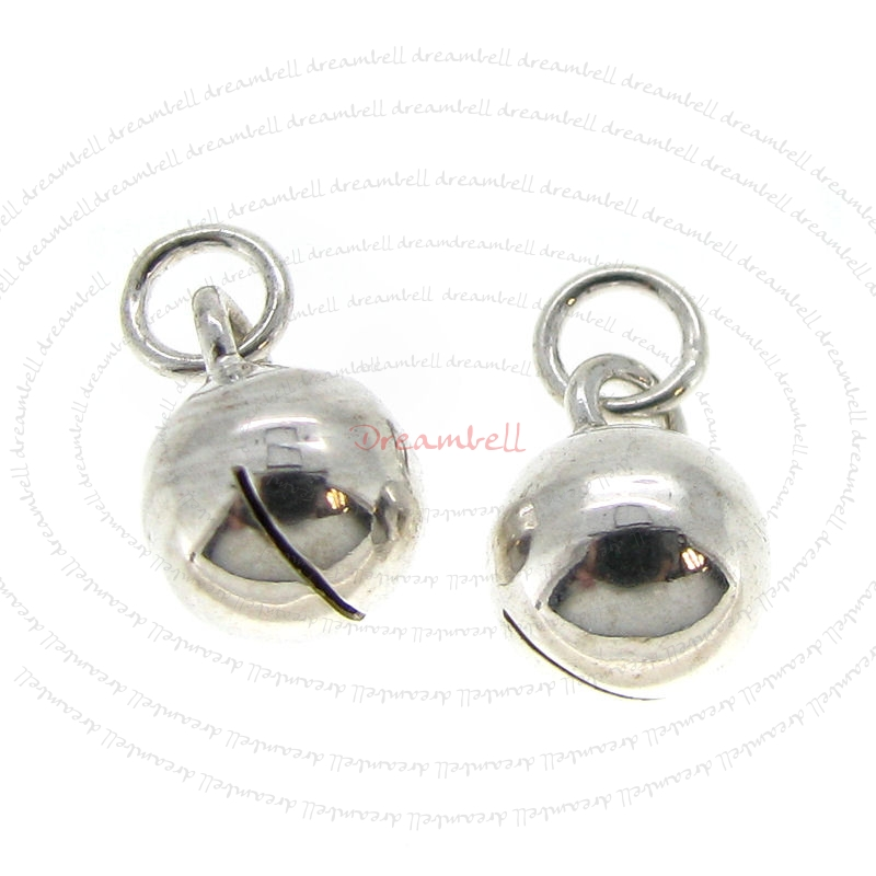 4 x New Sterling Silver Jingle Bell Dangle Charm 6mm w/ Jump Ring