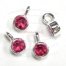 4x STERLING SILVER Round Ruby CZ DANGLE CHARM PENDANT 6.5mm